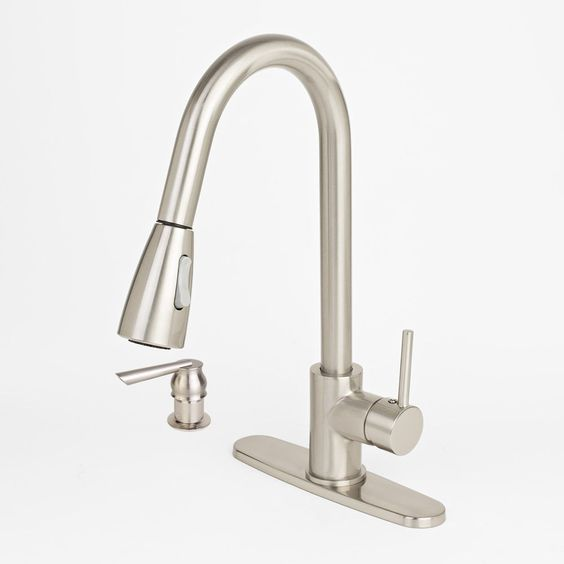 NEW Modern Brushed Nickel Kitchen Sink Faucet Pull-Out Spray Soap Dispenser in Home & Garden, Home Improvement, Plumbing & Fixtures   eBay