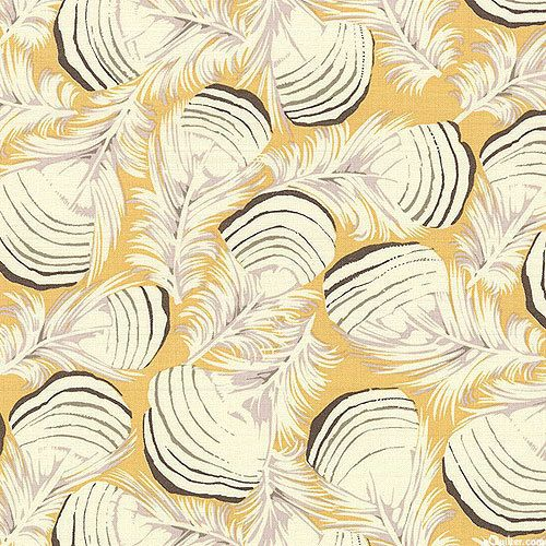 Duck Feathers in Gold by Martha Negley by CedarandNeedleFabric