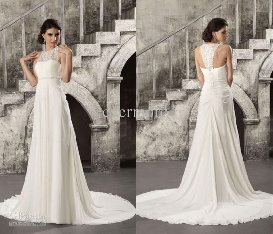 Wholesale 2013 Stunning Summer High Neck Empire Wasit Beads Working Lace Chiffon Bridal Gown Wedding Dresses, Free shipping, $109.76-119.84/Piece | DHgate
