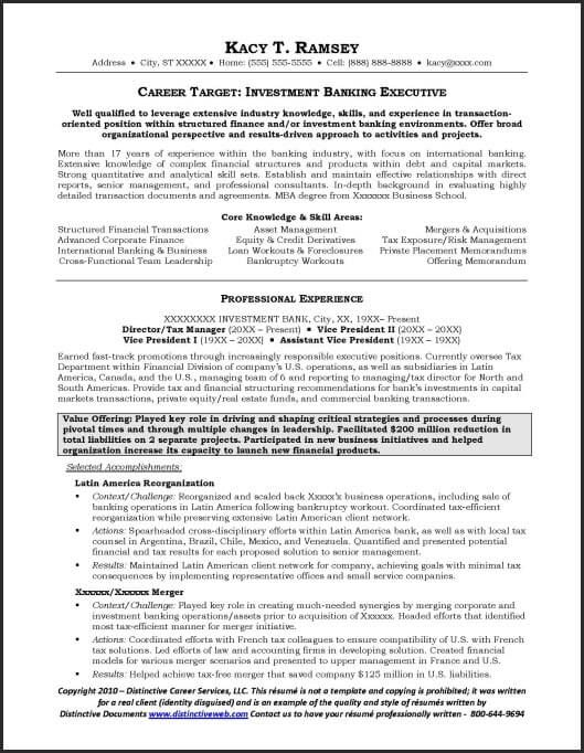 This investment banking resume example illustrates in a very ...