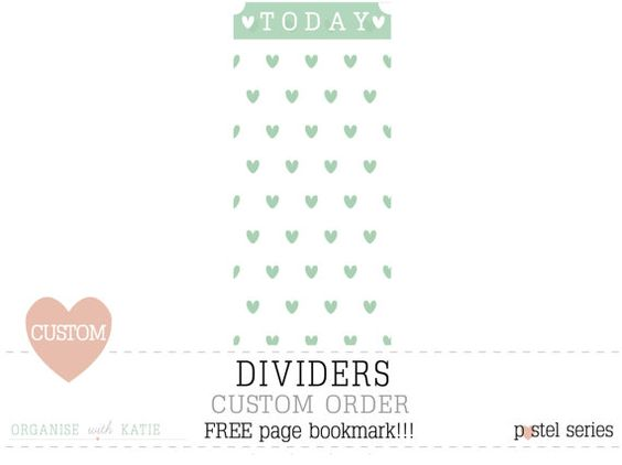 CUSTOM 5 Dividers for A5 Personal HalfSize by OrganiseWithKatie - with a FREE bookmark!