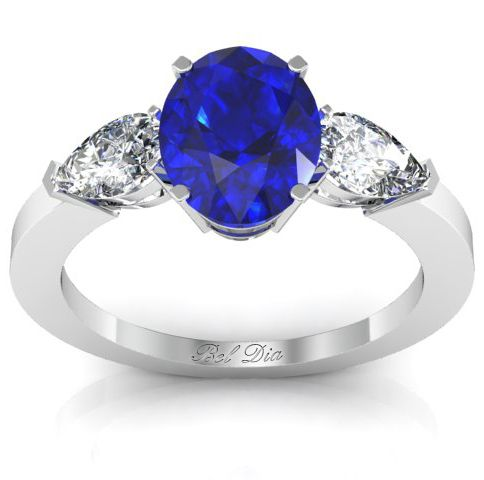 Oval sapphire engagement ring with pear shape side stones ...