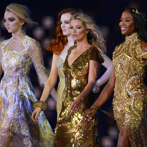 Kate Moss and Naomi Campbell, in gilded Alexander McQueen go for gold at the Olympic Games Closing Ceremony!
