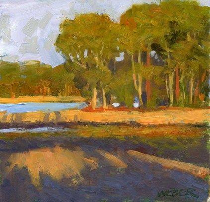 """""""Sunset at the reservoir"""" - Original Fine Art for Sale - � Kathy Weber"""