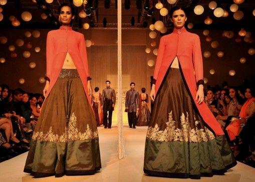 Lakme Winter 2013 Manish Malhotra lehnga with red jacket