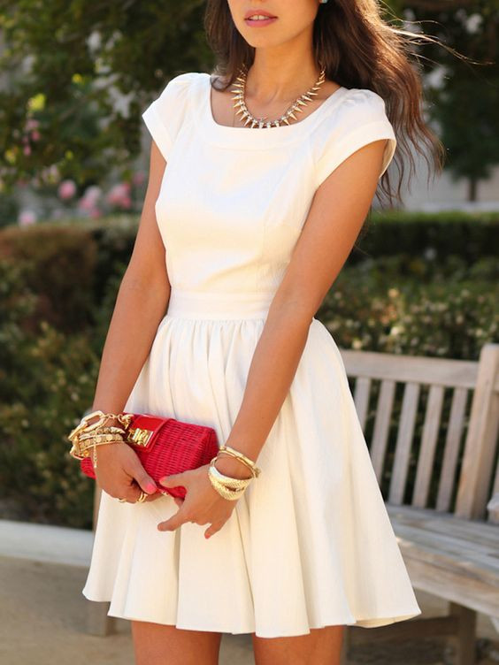 White Square Neck Cap Sleeve Cut Out Back Skater Dress | Choies
