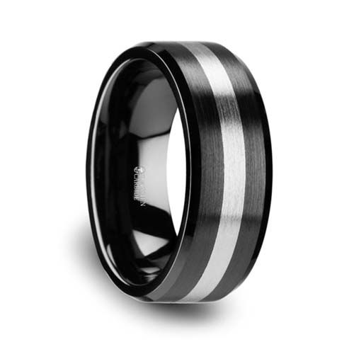 Phoenix Brushed Black Ceramic With Tungsten Inlay Wedding Ring Unique Titanium Wedding Rings Black Ceramic Ring Ceramic Wedding Bands Ceramic Rings