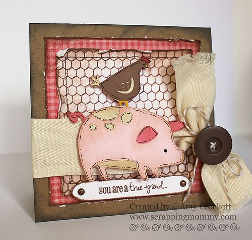 Cute card, the chicken wire is from a stamp by My Creative Time: