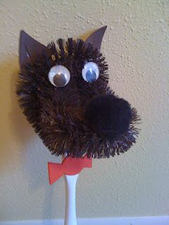 The Big Bad Wolf. Made from a toilet brush... would be great for letting kids study fairy tales and then create their own!