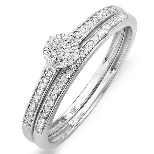 0.20 Carat (ctw) 10k White Gold Round Diamond Ladies Bridal Ring Engagement Matching Band Set 1/4 CT $199.00 (71% OFF)