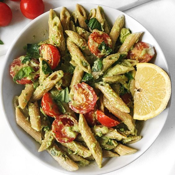 Quick and Easy Basil Avocado Pasta