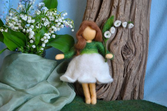 Waldorf inspired needle felted doll: Lilly of the valley fairy (Fée des Muguets). $54.00, via Etsy.