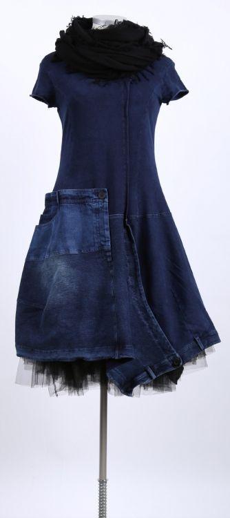 rundholz black label - Jeans Kleid Stoff Mix original - Sommer 2015 - stilecht - mode für frauen mit format...