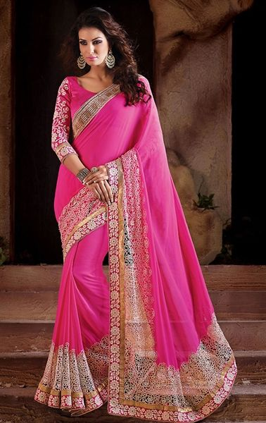 Picture of Angelic Pink Party Wear Sari Online