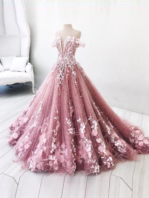 Beautiful Prom Dress A Line Off The Shoulder Lace Floral Elegant