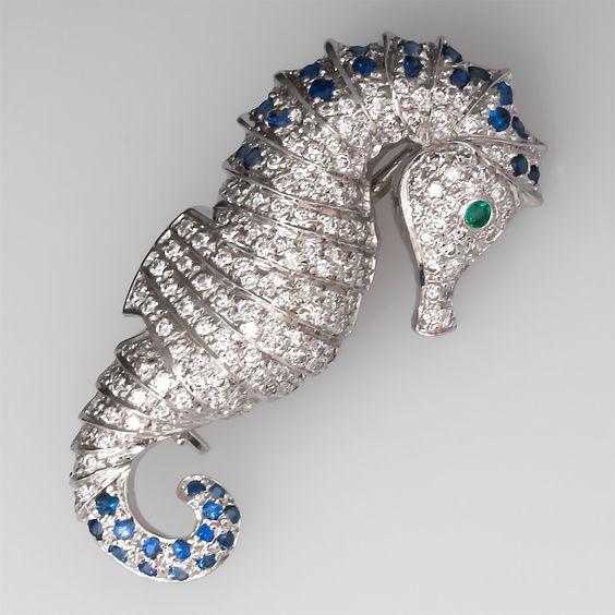 Diamond Seahorse Brooch Sapphire & Emerald Accents 14K White Gold