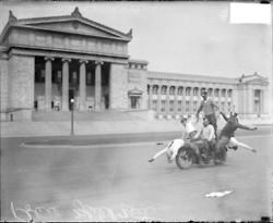 Six police officers posing on motorcycles in front of the Field Museum of Natural History, c. 1929. Photograph from the Chicago Daily News.DN-0089277.