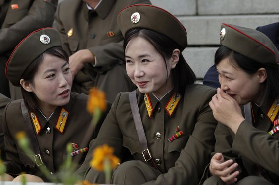 Female North Korean soldiers march during a military parade to commemorate the…