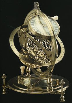 An exceptional brass and silvered-brass mechanical equinoctial standing ring-dial made by Richard Glynne for the Earl of Ilay, London, c. 1720. This combination sundial and mechanical clock illustrates the continuing dependence upon sundials for precision timekeeping.