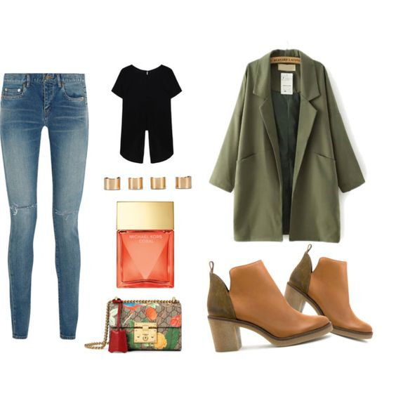 Weekend break by lenahcaruana on Polyvore featuring Yves Saint Laurent, Miista, Gucci, Maison Margiela, Michael Kors, denim, michaelkors, gucci, ankleboots and armyjacket: