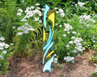 Garden art | ... Art, Whimsical Glass Garden Sculpture, Garden Glass Art, Garden Stake