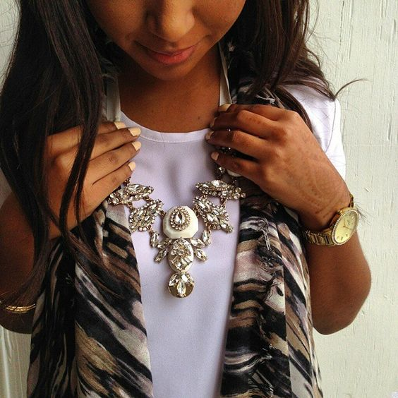 A statement necklace can dress up any look.