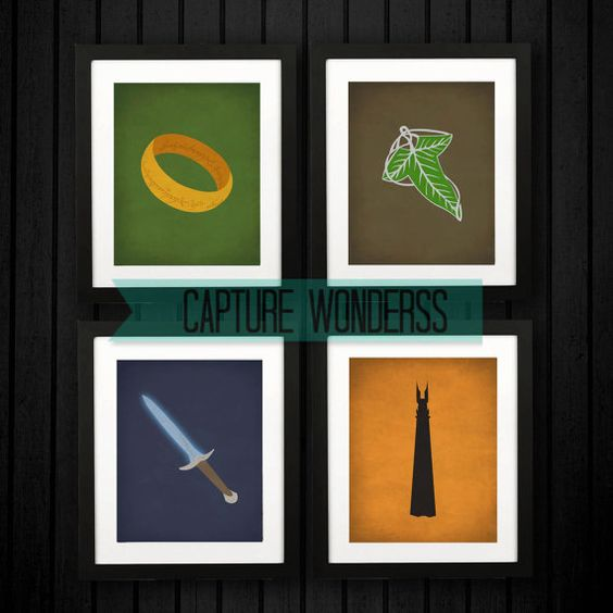8x10 Set of 4 Lord Of The Rings PostersDigital by CaptureWonderss, $11.00