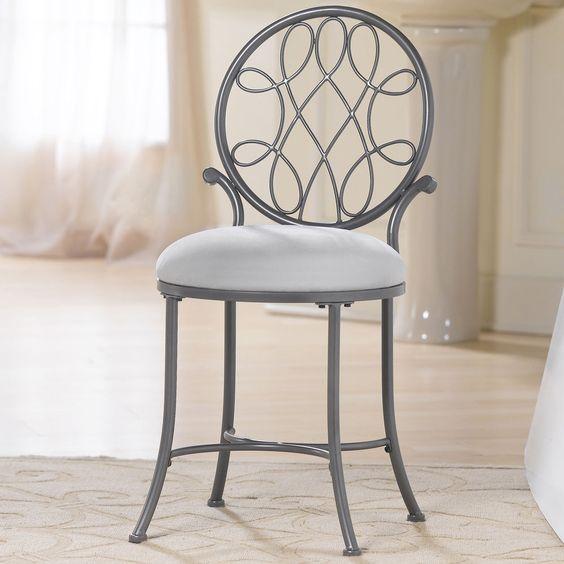Vanity Stool Chair Makeup Bedroom Furniture Metal Dressing Seat Padded Cushion