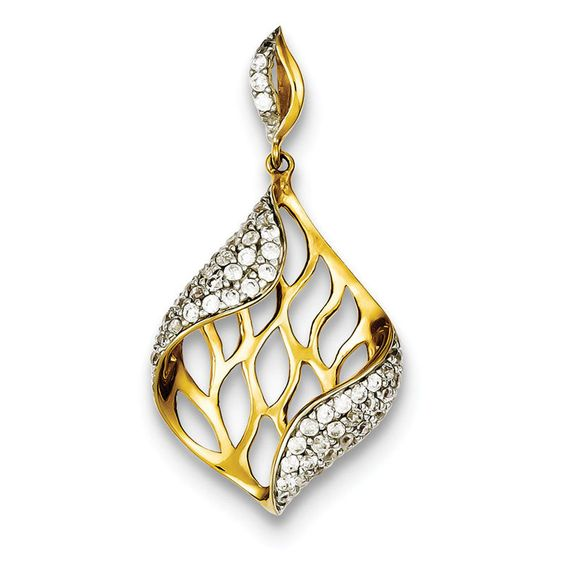 Sterling Silver Gold Plated CZ Pendant. Metal Wt-3.5g in Jewelry & Watches, Fashion Jewelry, Necklaces & Pendants | eBay