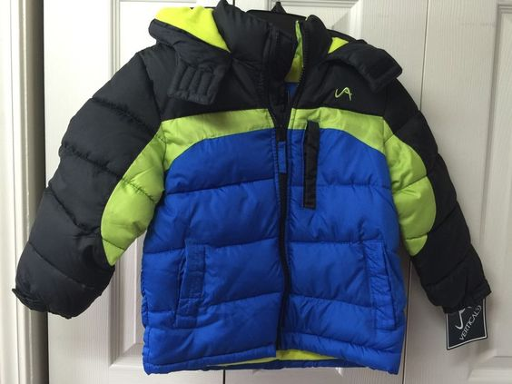 Boys Winter Jacket Size 4 By Vertical'9 Blue Black Neon Green Hood Coat #Vertical9 #BasicCoat #Everyday