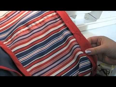 Vous aurez besoin de 60 cm de tissu de coton, de 23 cm  de tissu pour les poches, d'un paquet de ruban de biais double, un rouleau rouleau pour doublure d'étagère, une machine à coudre et du fil