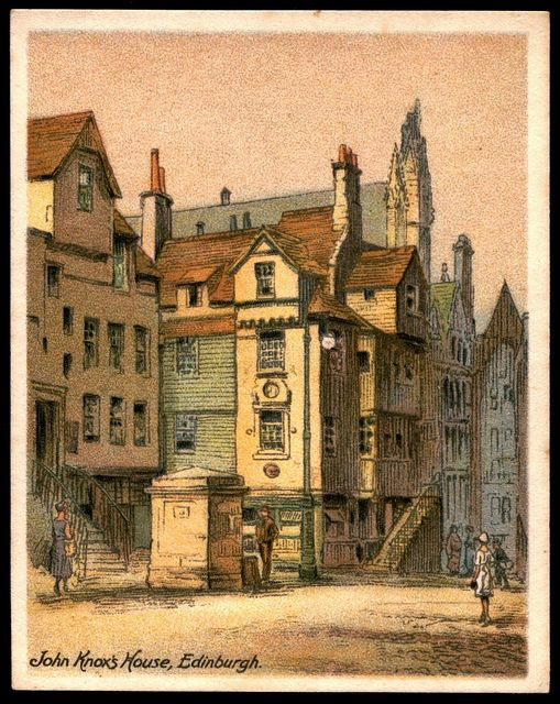 "Cigarette Card - John Knox's House, Edinburgh  Player's Cigarettes ""The Nations Shrines"" (series of 25 large cards, 1929)  #11 John Knox's House, Cannongate, Edinburgh"