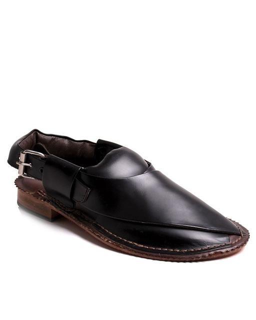 Black Mens Leather Flat Peshawari