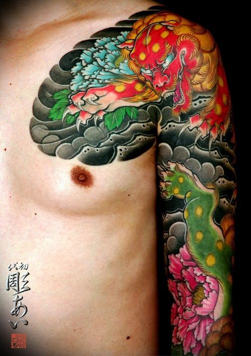 japanese sleeve tattoo - great layering on the chest