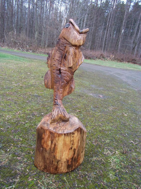 Chainsaw carved maple jumping bass etsy and