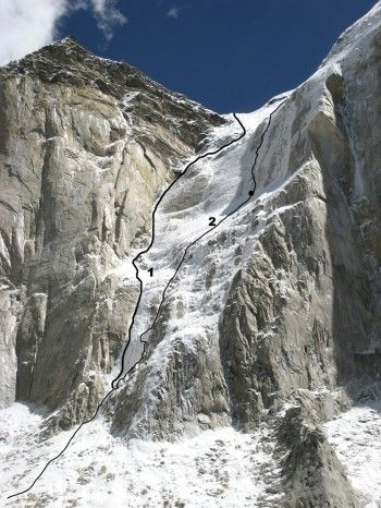 West face of Bhagirathi III-IV col. Bhagirathi IV summit on left, left side of Bhagirathi III west face to right. (1) La Fée Clochette. (2) The Seed of Madness. Daniele Nardi: