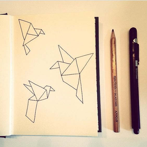 Handdrawn origami birds. First I sketched with pencil (and a ruler!), then I traced with a black liner. I later colored them in with paint, but I actually prefer the simple black on white.