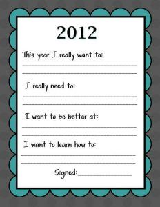 New Years Eve Resolution Printable for Kids