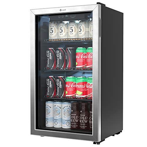 Vremi Beverage Refrigerator And Cooler 100 To 120 Can Mini Fridge With Glass Door For Soda Beer Or Wine Auto D In 2020 Beverage Refrigerator Mini Fridge Glass Door