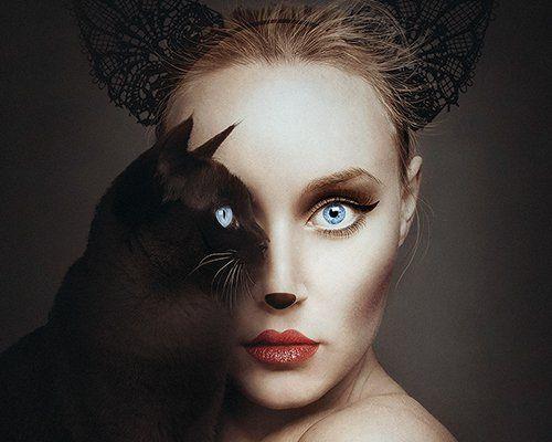 Flora Borsi Combines Human Animal Features Into One Creative Self Portraits Surreal Portrait Surreal Photo Manipulation