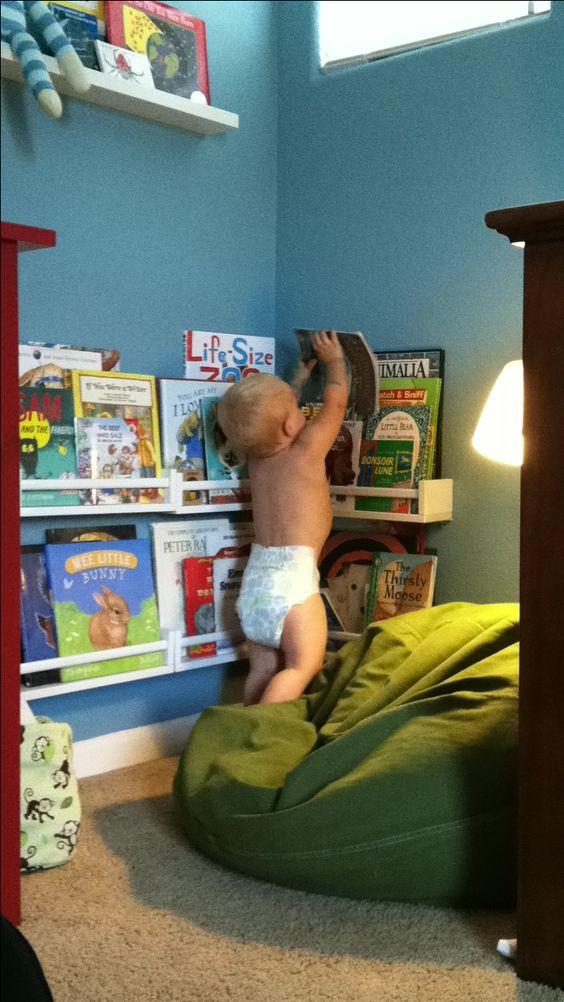 Love the ikea spice racks as bookshelves for a reading corner