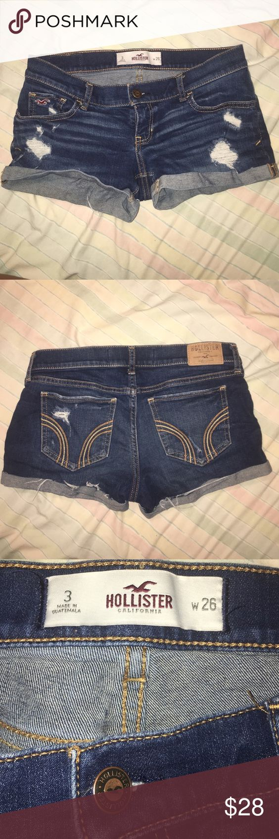 Hollister jeans Dark wash hollister Jean shorts size 3 worn a few times in great condition! Hollister Shorts