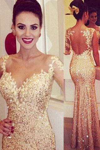 Long Trumpet/Mermaid Spaghetti Straps Sequined Ivory Prom Dresses 2016