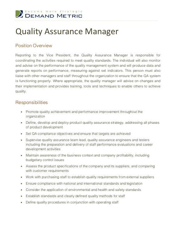 Resume Quality Assurance Manager - Http://Jobresumesample.Com/1583