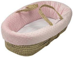 Baby Doll Heavenly Soft Doll Moses Basket Set, Pink: Nursery
