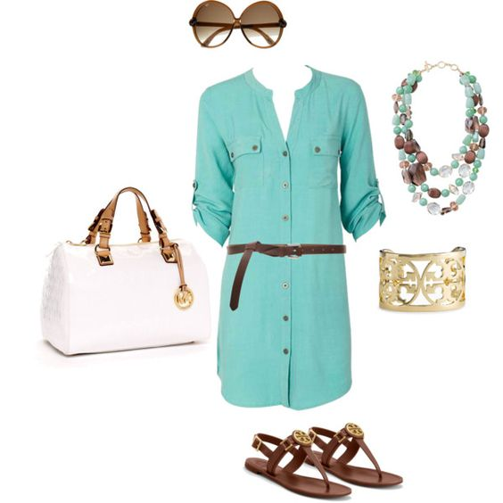 casual dress!: Summer Casual, Casual Dress Outfits, Casual Outfit, Casual Summer, Spring Summer, Teal Shirtdress, Mint Outfits