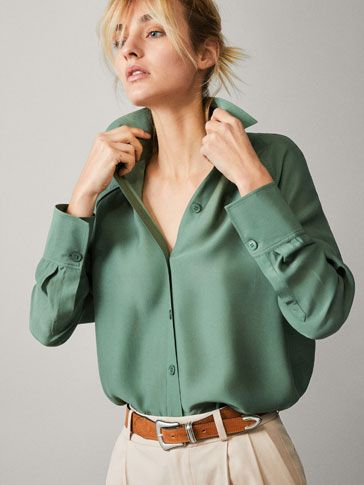 Spring Summer 2019 Women´s SHIRT WITH PIPING at Massimo Dutti for 59.95. Effortless elegance!