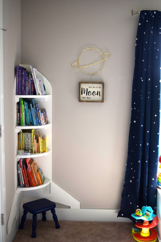 Outer space toddler boy bedroom Space ship or Rocket ship bookshelf I love you to the moon and back Saturn light We love how this turned out