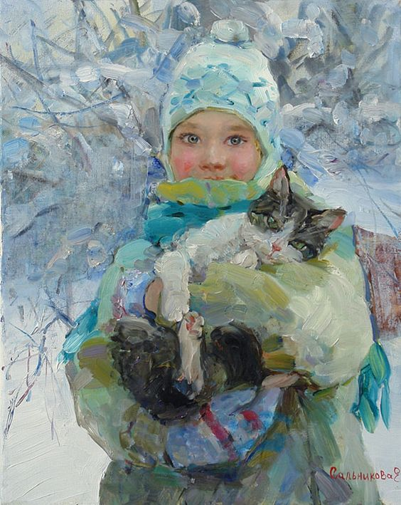 We walked with the cat, Elena Salnikova- portrait of child with gray kitten, impressionism, winter
