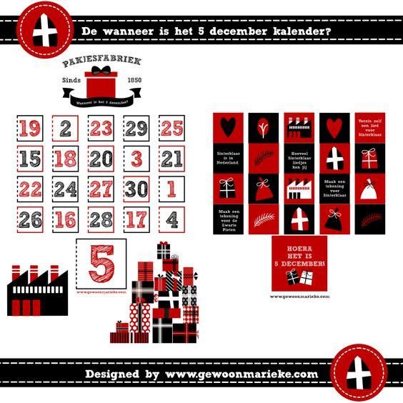 De wanneer is het 5 december-kalender 2014, gratis te downloaden via www.gewoonmarieke.com